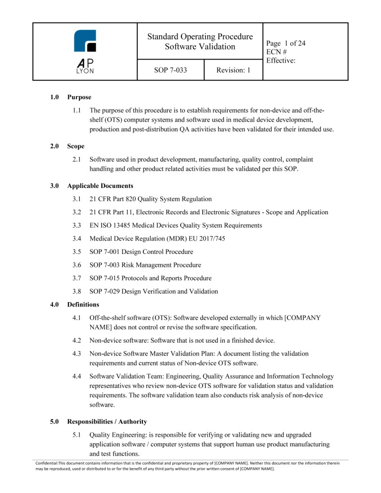 Medical device software procedure bundle for Fda sop template