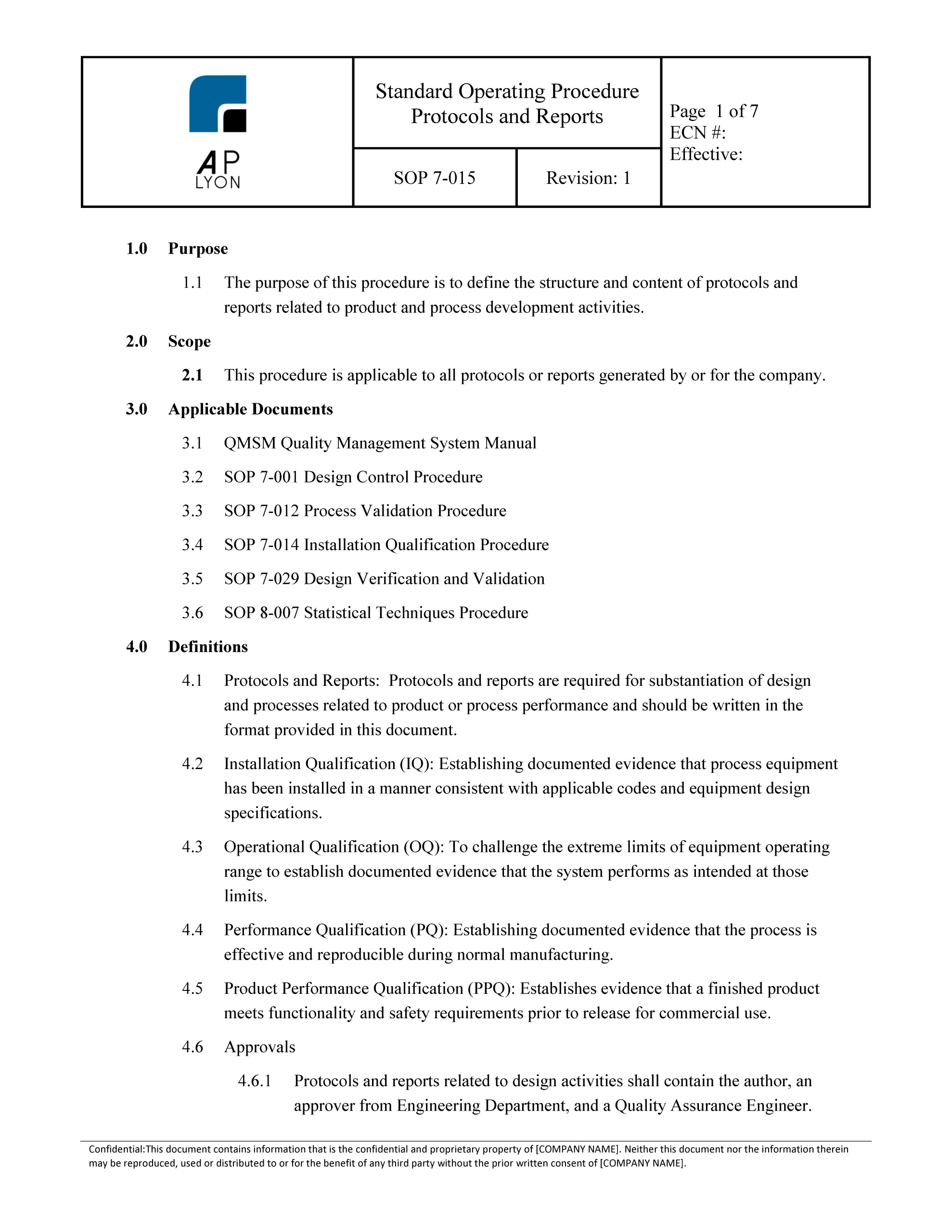Validation protocols reports procedure for Protocol document template